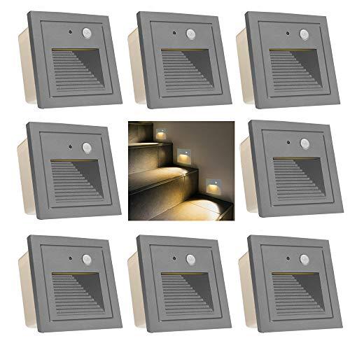 Wandeinbauleuchte aussen LED Treppenlicht Wandleuchte mit Bewegungsmelder Quadratische LED Treppenbeleuchtung Stufenbeleuchtung Stufenleuchte, Aluminium, 230V 3W (grau, 8er Set)