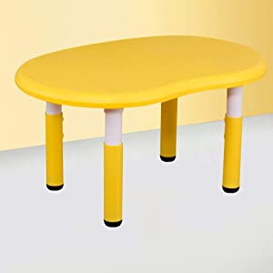 EXCLVEA-TCS Baby Activity Table- Childrens Study Desk Chair Table Set Tiltable Table And Chair For Kids Art Wood Table Set Work Station Height Adjustable Baby Play Table  Color Yellow