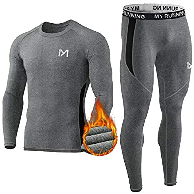Men's Thermal Underwear Set, Sport Long Johns Base Layer for Male, Winter Gear Compression Suits for Skiing Running (Grey, Medium)