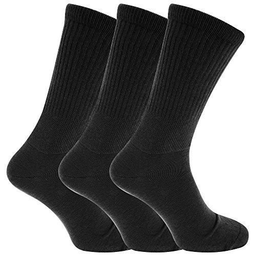 Textiles Universels Chaussettes larges pour diabétiques (3 paires) - Homme (39-45 EUR) (Noir)
