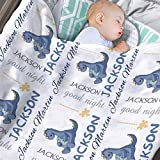 Personalized Baby Blankets for Boys with Name, Customized Dinosaur Baby Boys Blanket with Name for Baby Gifts Items