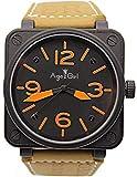 Llzka Edelstahl braun Leder Carbon Glocke Uhr automatische mechanische Silber Taucheruhr 1