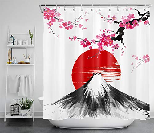 LB Cortinas de Baño Flor de Cerezo Rosa 180X200CM Monte Fuji japonés y Sol Rojo Cortina de Ducha con Ganchos,Extra Largo Impermeable Antimoho Poliéster Decoración de Baño