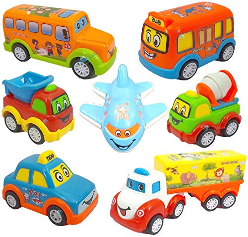 FunBlast Kids Pull Back Vehicles, Push and go Crawling Toy Car for Kids & Children, Friction Powered car Toy for 3+ Years Old Boys|Girls (Set of 7) - Multi Color