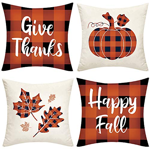 Ivenf Thanksgiving Decoration 18x18 Throw Pillow Cover 4pcs, Orange Black Plaid Pumpkins Maple Leaves Give Thanks Decorative Pillow Covers, Fall Autumn Cushion Covers for Home Office Couch Sofa Bed
