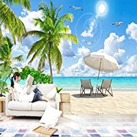 ranyan 写真壁壁画現代モルディブハワイ海景風景3D壁画壁布リビングルーム寝室背景壁紙-150x120cm