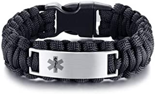 LF Mens Stainless Steel Free Engraving Customized Medical Alert Outdoor Black Rope Paracord Survival Medical ID Bracelet Sos Emergency Cuff Bracelets for Adult Hiking Camping Hunting Activities