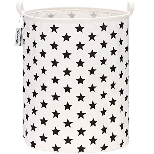 Sea Team 19.7 inch Large Sized Waterproof Coating Ramie Cotton Fabric Folding Laundry Hamper Bucket Cylindric Burlap Canvas Storage Basket with Stylish Black Design
