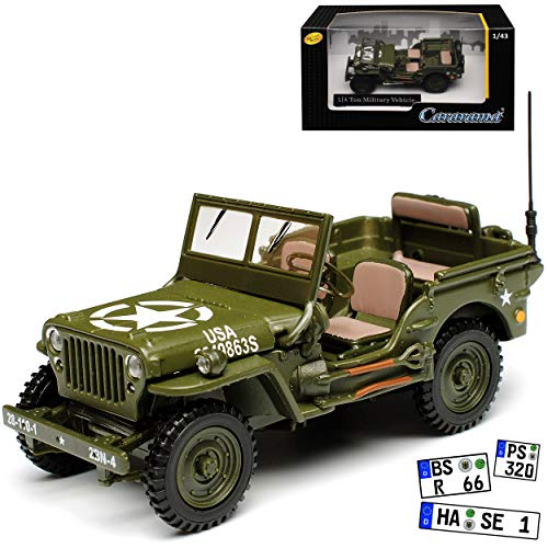 Cararama Jeep Willys 1/4 TON Army Truck Grün USA Army 2. Weltkrieg Offen 1/43 Modell Auto