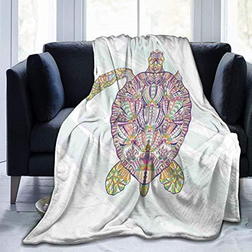 Manta de sherpa de gran tamaño con motivos tribales en una concha de una tortuga marina, diseño floral colorido subacuático, manta de forro polar para adultos y niños y adolescentes