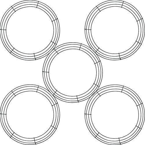 5 Pieces Metal Wreath Frame Ring Round DIY Macrame Floral Crafts Wire Wreath Form Christmas Decoration Door Craft (Deep Green, 8 Inch)