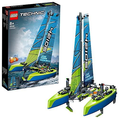 LEGO 42105 Technic Katamaran, Baukasten, Motorboot, 2-in-1 schwimmendes Spielzeug