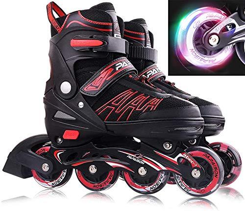 XIUWOUG Inline Skates Für Kinder Und Erwachsene, 8 LED-Blinkräder, 27-44 Einstellbare Schuhgröße, ABEC-7 Lager, Doppelt Schuhkopf Kann die Zehen Besser Schützen,Rot,S 27_32