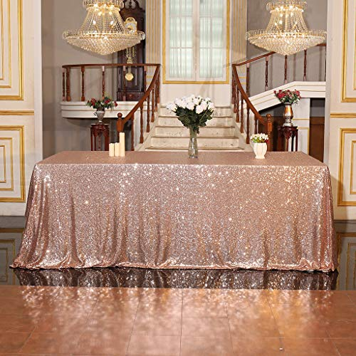 Juya Delight 60  x 102  Rose Gold Sequin Tablecloth Rectangle for Wedding Birthday Party Festival Ceremony Cake Dessert Table