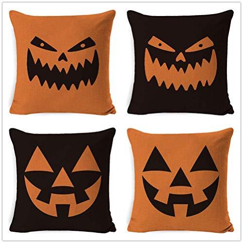 Victoryhome Halloween Pillow Covers, Pumpkin Pillow Covers, Halloween Pumpkin Smiley Face Home Decorative Throw Pillow Covers 18' x 18' Set of 4 Cotton Linen