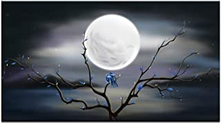 sechars - Love Birds on Tree in Night with Full Moon Modern Canvas Painting Wall Art The Picture for Home Decoration Peaceful Nature View Print on Canvas Giclee Artwork for Wall Decor Gift (1 Piece)
