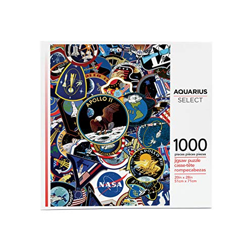 AQUARIUS NASA Mission Patches Puzzle (1000 Piece Jigsaw Puzzle) - Glare Free - Precision Fit - Virtually No Puzzle Dust - Officially Licensed NASA Merchandise & Collectibles - 20 x 28 Inches, 500