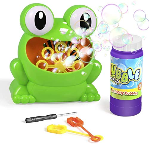 Seven-first Bubble Machine, Automatic Frog Bubble Blower with Bubble Solution & 2 Bubble Wands, Maker 500 Bubbles Per Minute, Gifts Toys for Boys/Girls/Kids, Outdoors & Party & Wedding