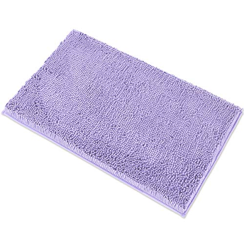 MAYSHINE Chenille Bath Mat for Bathroom Rugs 32' x20' , Extra Soft and Absorbent Microfiber Shag Rug, Machine Wash Dry- Perfect Plush Carpet Mats for Tub, Shower, and Room- Lavender