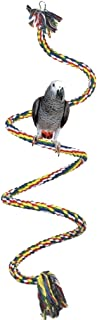 Formemory ペット用品 鳥のおもちゃ インコ ロープパーチ ゆらゆら 噛む玩具 オウム ストレス解消 吊下げ式 鳥用品 ベル付き 大中小型インコに対応 脚に優しいタッチ オウム 小動物 ロープ 遊びおもちゃ (1m)
