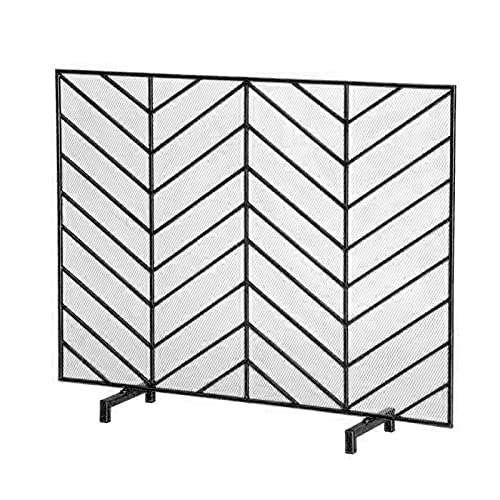 HMBB Single Panel Iron Fireplace Screen Flat,Freestanding Fire Place Screen w/Sturdy Wrought Iron Frame,Fire Spark Guard Gate w/Metal Decorative Mesh for Outdoor or Indoor Use (Color : Black)