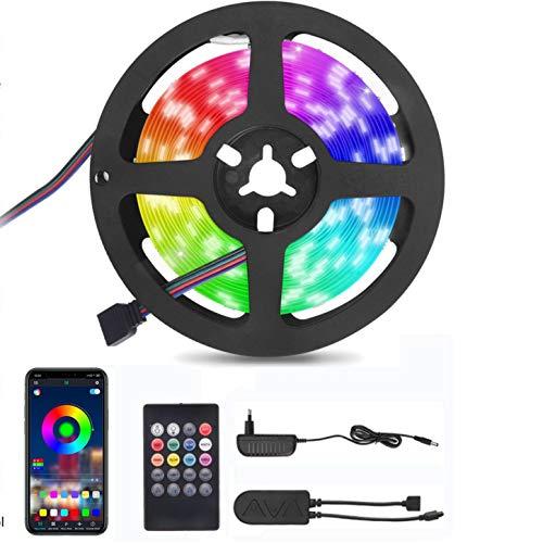 LED Strip 5m,VIFLYKOO Bluetooth Musikalische LED Strip,Dimmbare Lichterkette mit 20Tasten Fernbedienung und Mobile APPs LED Lichtband für Schlafzimmer,Party und Feriendekoration