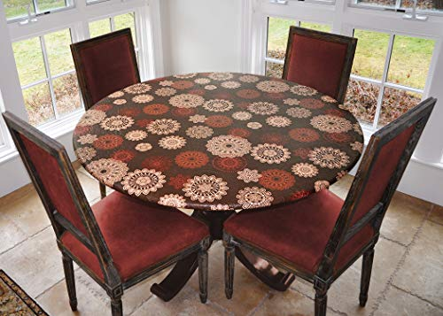 LAMINET Elastic Fitted Table Cover - Medallion - Small Round - Fits Tables up to 44 Diameter