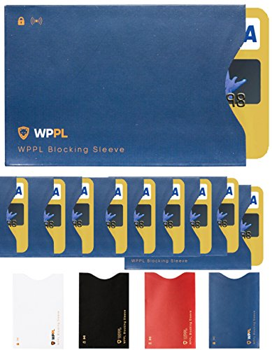 RFID Sleeves Credit Card Sleeve - Credit Card Protector Sleeves Blocks Credit Cards Transfer of Data Protecting Against Thieves Electronic Pickpocketing - RFID Credit Card Sleeves (Blue10)