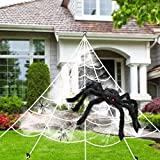 Halloween Decorations Spider Web Triangular Mega Outdoor Graveyard Decor Stretch Cobweb Set Scary Props Shooter with Black Spider