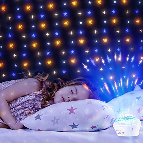 USB LED Sternenhimmel Projektor Lampe Sternenprojektor Projektionslampe Stimmungslichter USB Nachlicht Lampe mit 4 Modi und Timerfunktion für Baby, kinder,Schlafzimmer, Party, Innenbereich