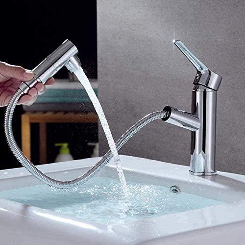 Grifo de lavabo extraíble Grifo mezclador de agua fría y caliente para grifo de lavabo en la terraza del baño
