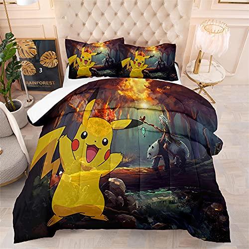 Couvre Lit 1 Personne Pokémon Pikachu,Parure De Lit 140x200 Enfant,100% Matériau en Microfibre Super Doux, Facile à Utiliser avec Fermeture à Glissière,avec 1 Taie d'oreiller 65x65cm