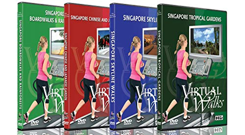 4 Disc Set Virtual Walks DVD Combo Pack - Singapore City Garden View - Scenic Route Videos for Teadmill Everyday Workouts
