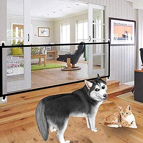 Nifogo Magic Pet Gate para Perros 180x72cm, Plegable y Portátil, Puerta Mágica para Cualquier Lugar Pasillo Puerta Escalera Interior (Deep Black)