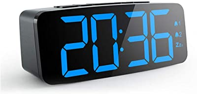OOOUSE Reloj Despertador Pantalla Digital LED, con 6 Modos de atenuación, función de repetición