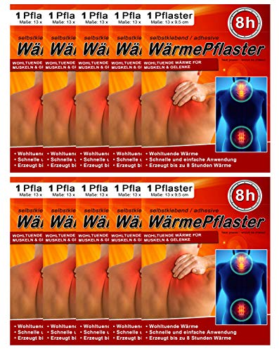 10 cerotti termici per schiena e collo, per addome, 8 ore, per massaggi e relax