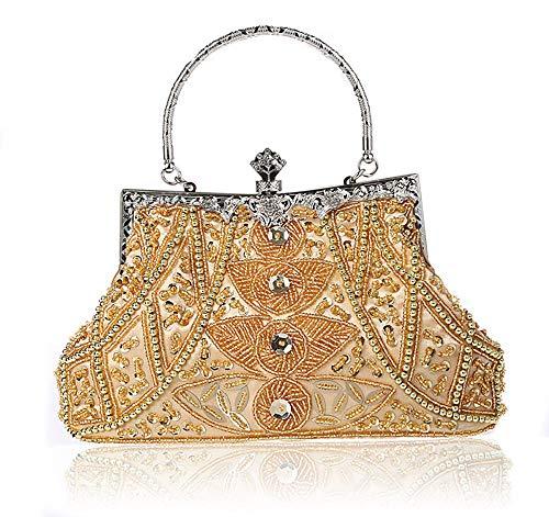 DA BODAN Damen Abendtasche Vintage Perlen Pailletten Perlen Clutch Handtasche Schultertasche Geldbörse für Hochzeit Braut Abschlussball Party