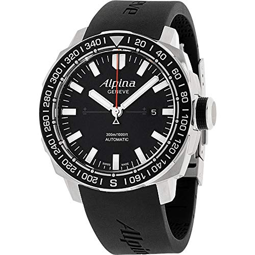 Alpina Men's AL-525LB4V6 Yacht Timer Tactical Planner Black Dial Black Rubber Strap Watch
