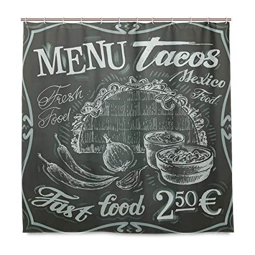BEITUOLA Cortina Baño,Logotipo de Comida Fresca Mexicana de Estilo Vintage con diseño de menú de Burrito de maíz y Chile,Baño Lavable a Prueba de Agua,180x180cm Cortina de Ducha con 12 Ganchos