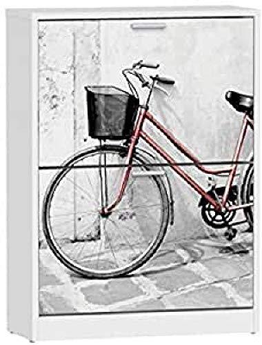 Suarez H329-BCJ Vélo Rouge Meuble à Chaussures avec 2 Abattants Mélamine Blanc 60 x 24,2 x 82 cm