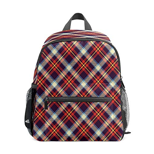 Kids Backpack Preschool Kids School Bag Boy Girl Lightweight Shoulder Book Bag for 1-6 Years Old Perfect Back Pack for Toddler to Kindergarten Red Purple Blue Yellow Cross Lines Tartan
