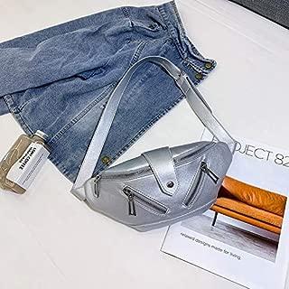 Fashion Single-Shoulder Bags Solid Color Fashion PU Single Shoulder Bag Zipper Messenger Bag Casual Waist Chest Pockets Bag (Black) (Color : Silver)