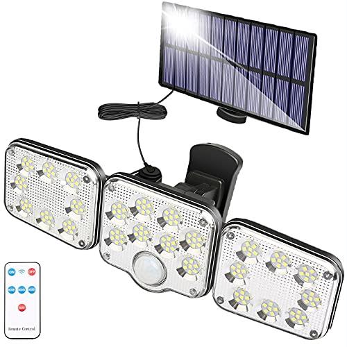 Lumière Solaire Extérieure avec Détecteur de Mouvement 130 LED, Lumière Solaire de Jardin à 1300 Lumen, Lampe Solaire avec Câble de 5m, Projecteur LED Spot Mural avec télécommande, étanche IP65