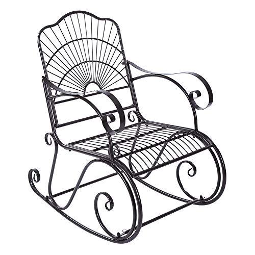 AYNEFY Silla mecedora, mecedora de hierro, silla de balancín individual en el parque, patio, patio al aire libre