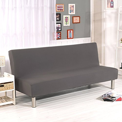 WOMACO Sofa Bed Cover Futon Slipcover Full Folding Elastic Armless Sofa Protector 80 x 50 in (Gray)