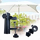Kexle Patio Umbrella Clamp, Umbrella Stand Metal Clamp, Sun Shade Support, Balcony Umbrella Holder, Bench Buddy, Bracket Outdoor, for Deck, Pool Deck, Bleachers, Tailgates, Boats, Poles, Fences Black