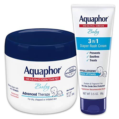 Aquaphor Baby Skin Care Set - Includes 14 Oz. Jar of Advanced Healing Ointment & 3.5 Oz Tube of Diaper Rash Cream, 2 Piece Set