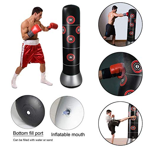 YAVOCOS Punch Bag Inflatable Heavy Punching Bag Free-Standing Tumbler Training Bag with Air Inflator Pedal Pump (Black)