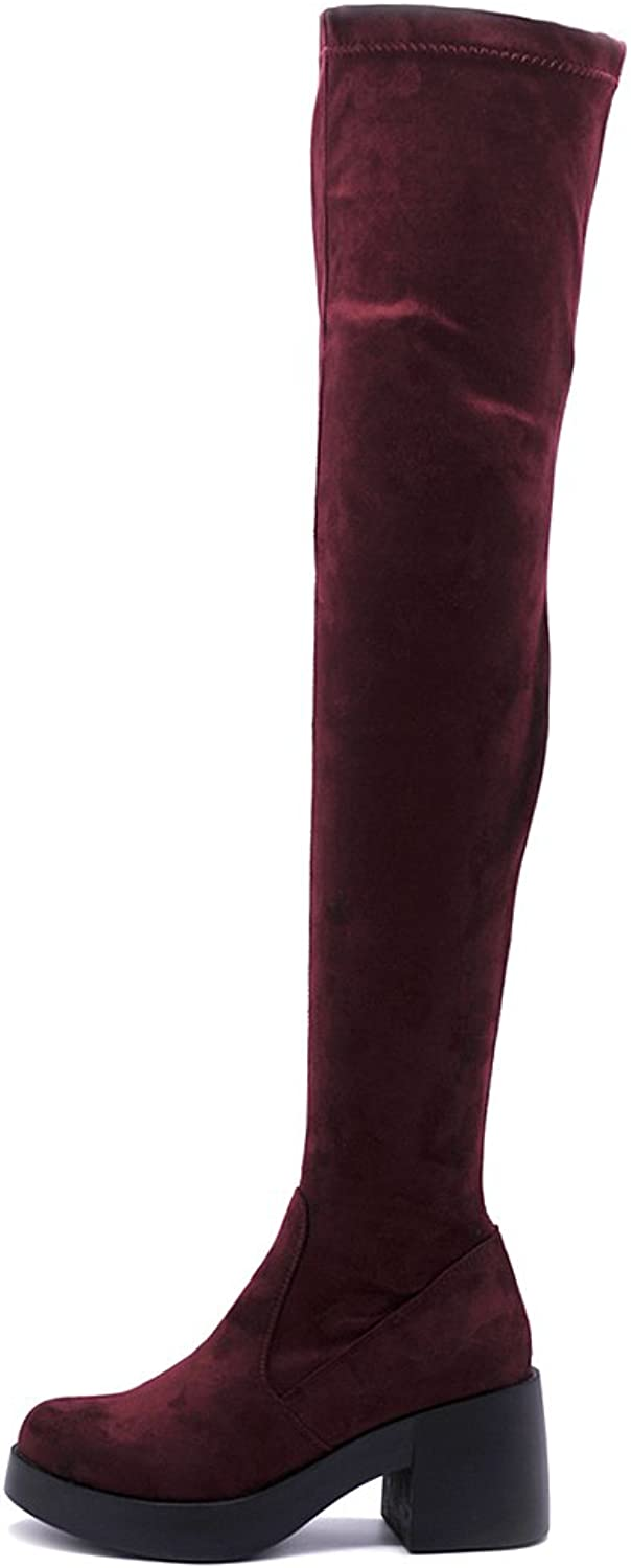 Ollio Women shoes Span Stretch Faux Suede Faux Leather Platform Thigh-high Zip Up Long Boots