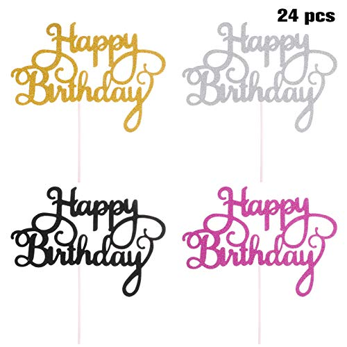metagio 24 Stück Cake Topper, Cake Topper Happy Birthday, Happy Birthday Kuchen Topper Glitzer Cupcake Topper Geburtstagstorte Topper, Tortenaufsatz, Tortendeko, Kuchendeckel, 4 Farbe